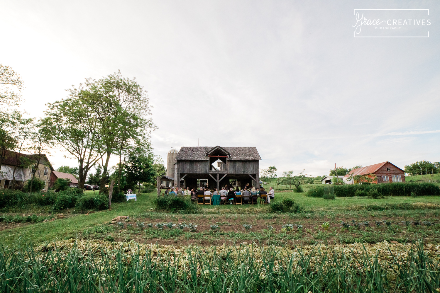 wide angle view of the farm