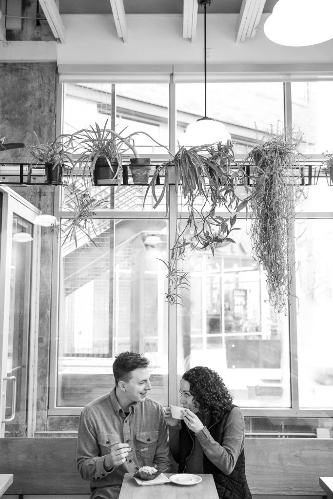 Milwaukee coffee shop engagement session