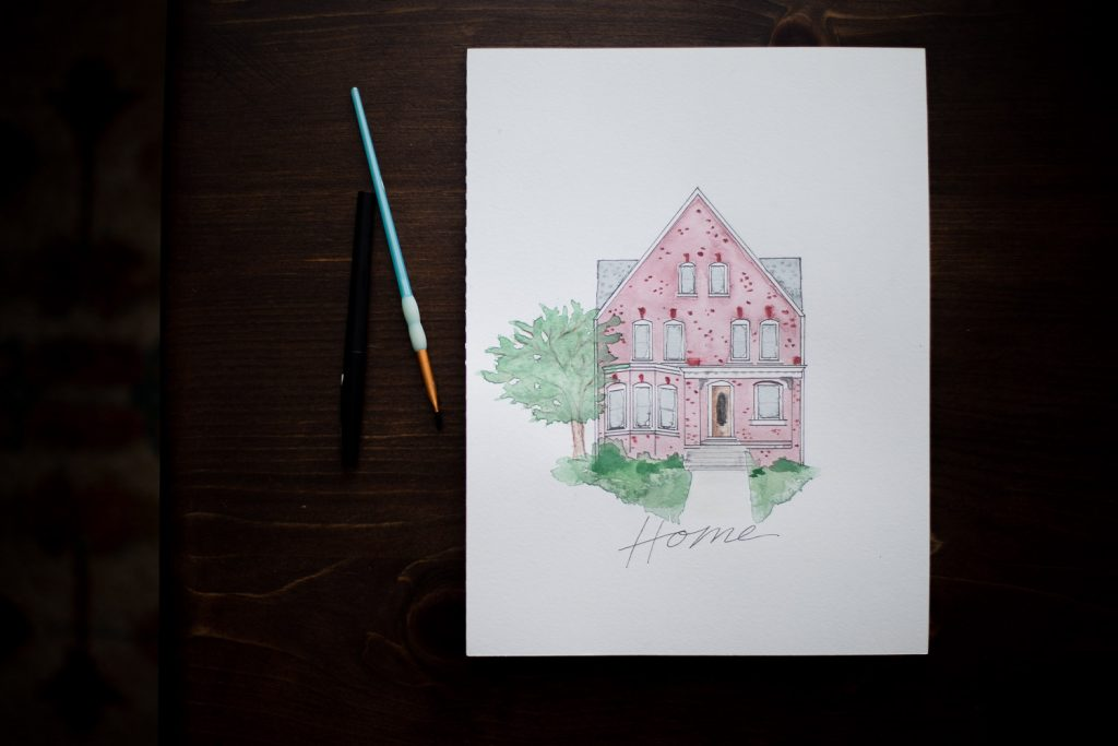 watercolor painting of a Milwaukee home