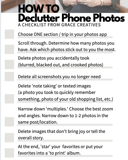 Declutter phone pictures printable checklist