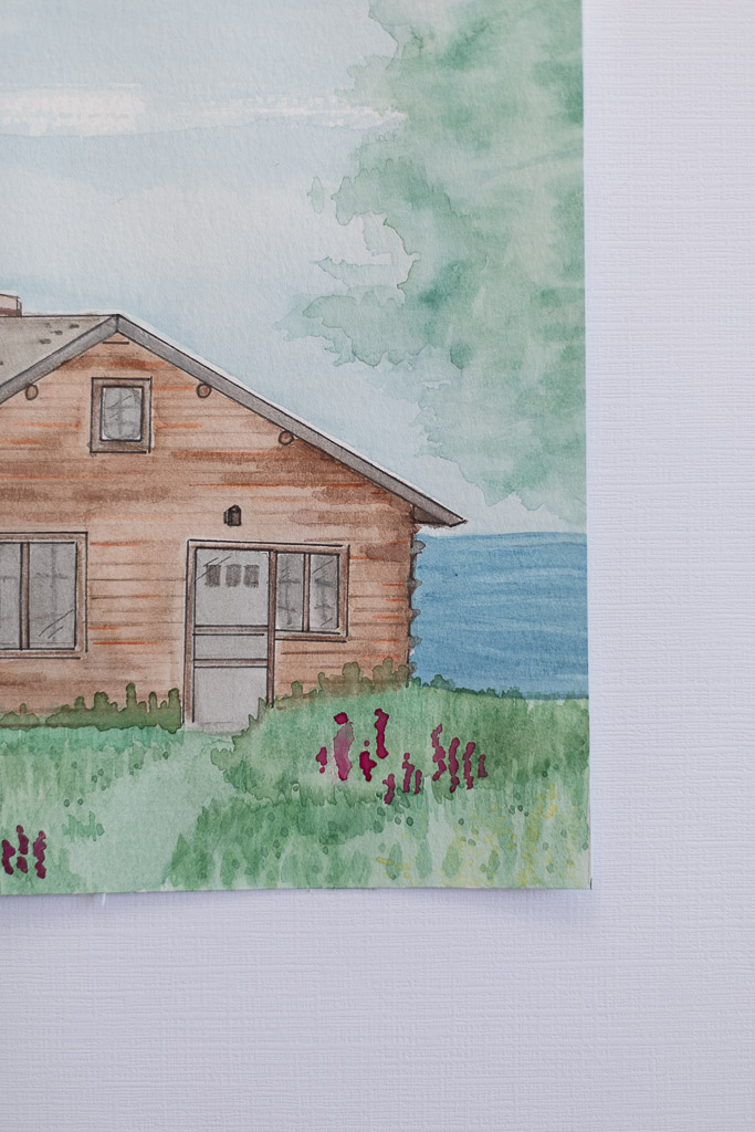 Cabin Watercolor Portrait