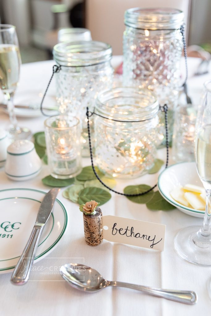 simple Mason Jar and eucalyptus table centerpeices