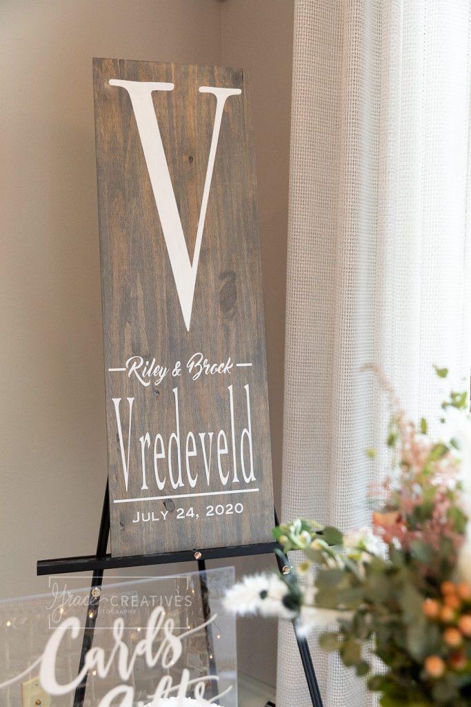 Custom wood wedding sign with monogram