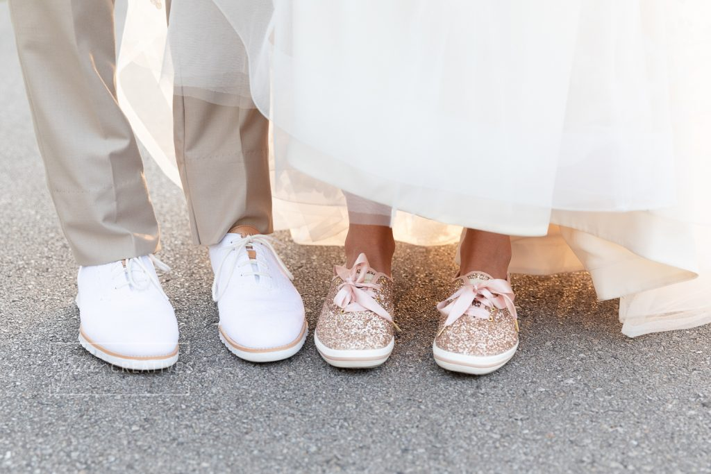 Wedding Day sneakers on bride and groom