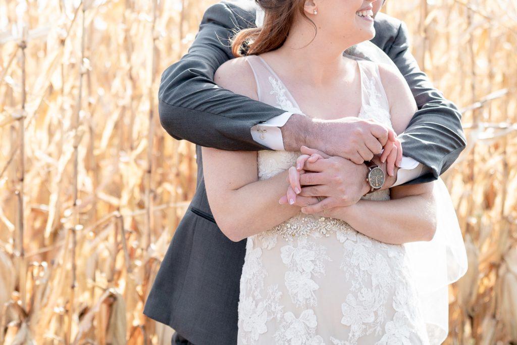 First Look between bride and groom before Wisconsin Intimate Wedding Ceremony