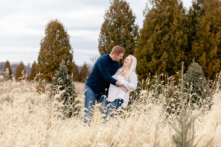 tree farm engagement Session