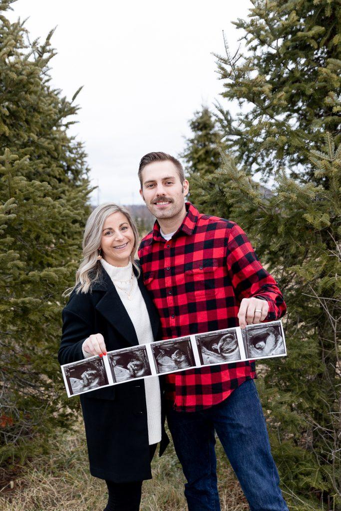 Wisconsin winter tree farm pregnancy announcement