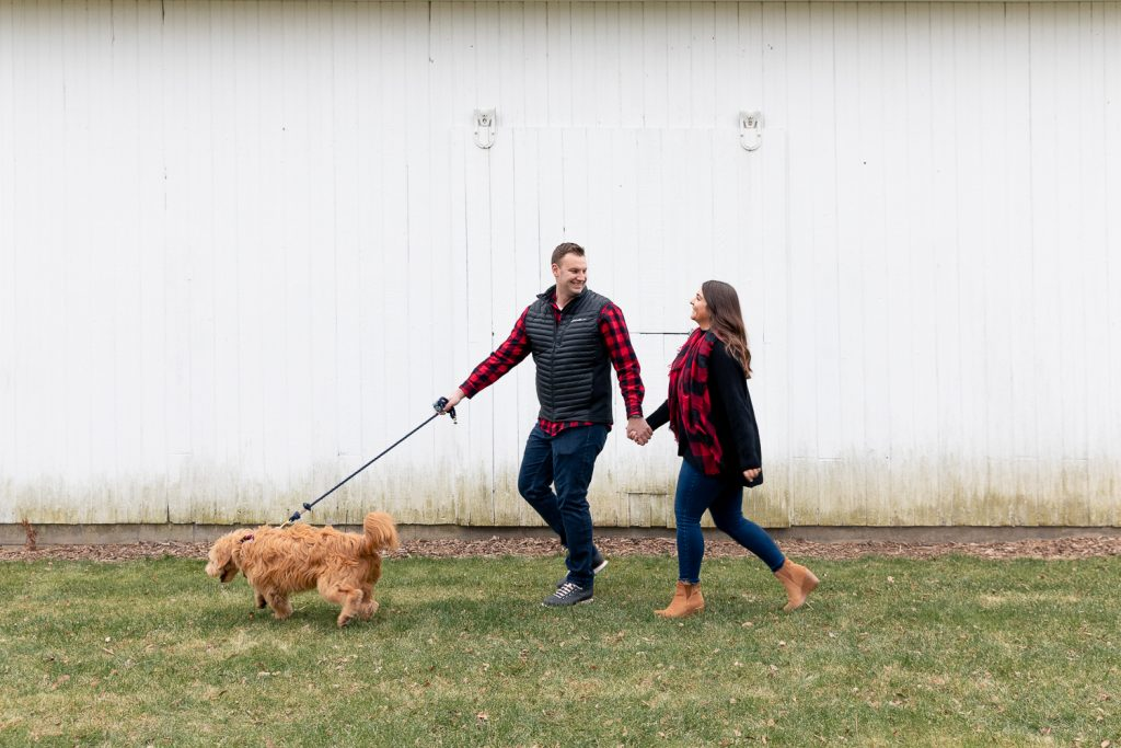 couple walking with a golden-doodle in front of a white barn