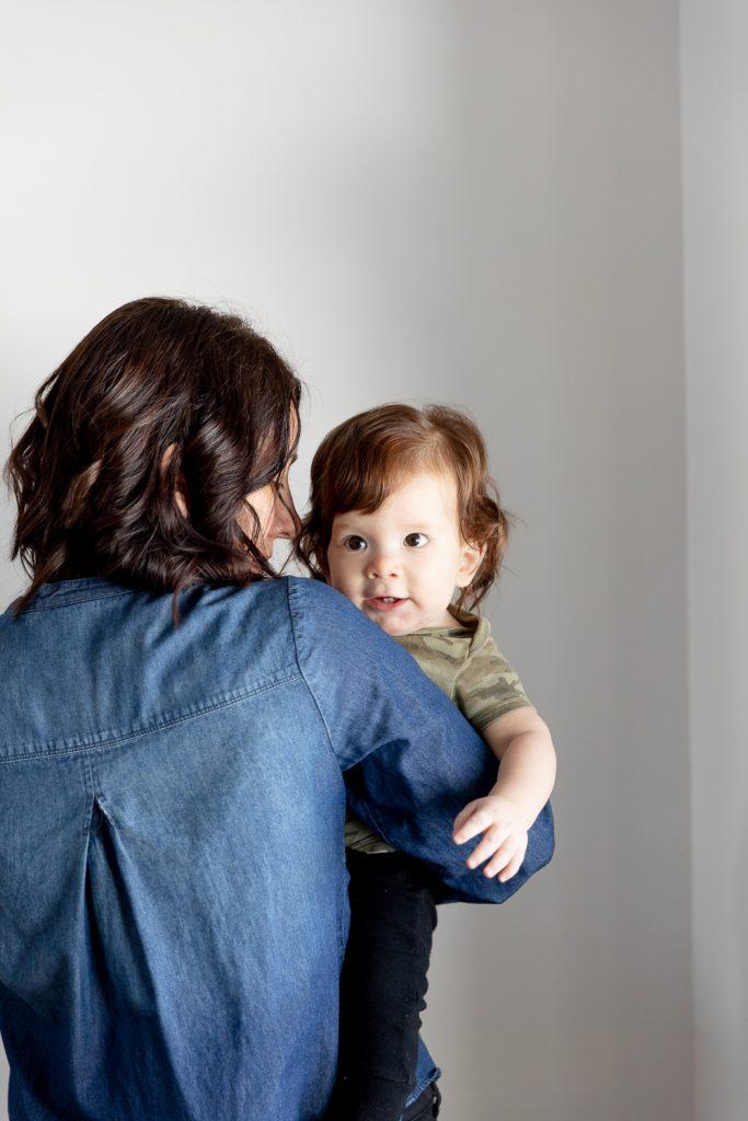 Mom with son during Milwaukee milestone photos