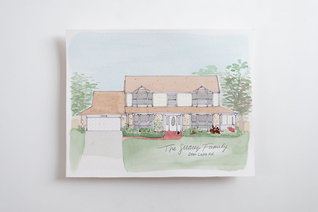 Grace Creatives Custom watercolor home
