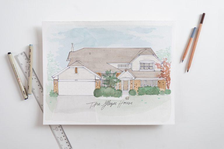 Watercolor Home Custom Painting