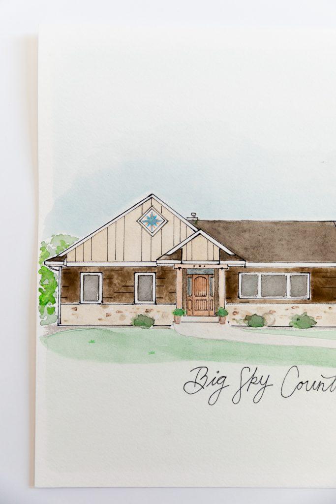 Custom Watercolor Home