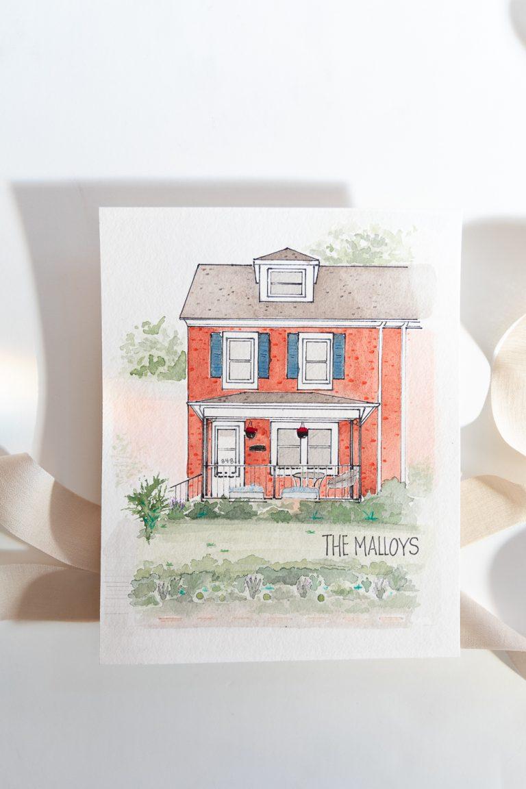Grace Creatives Baltimore Watercolor Home