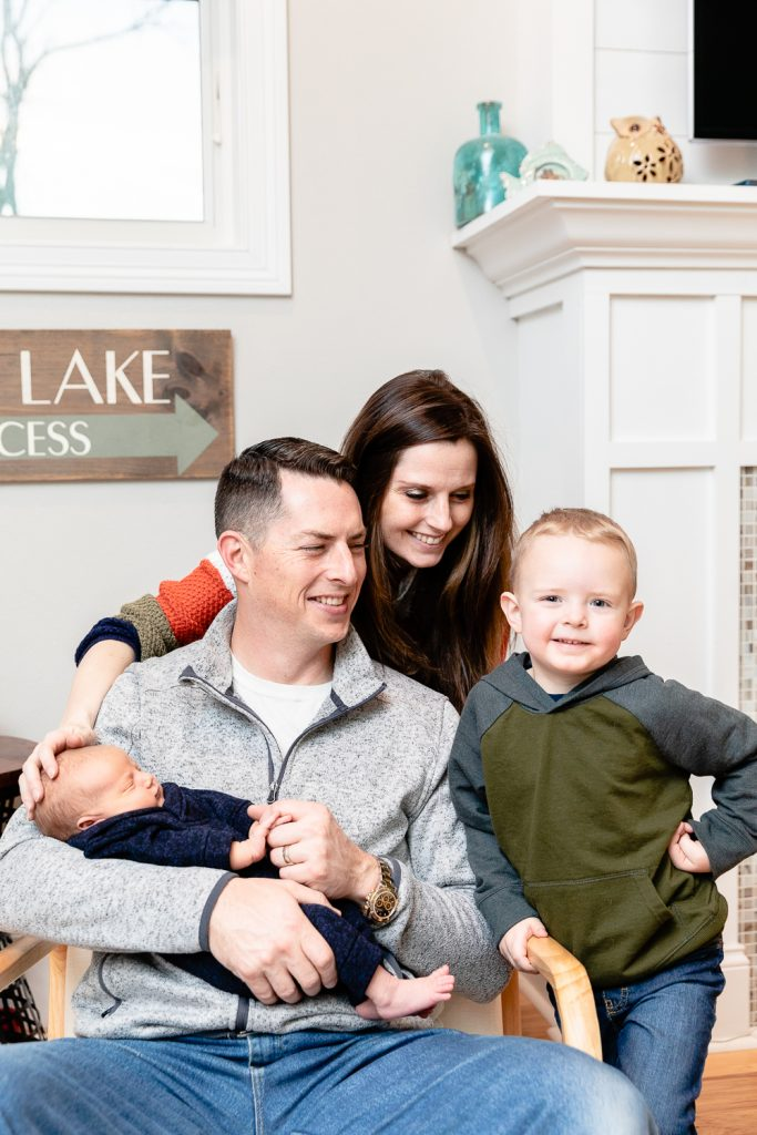 family photo during pewaukee in-home newborn session with grace creatives